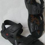 Ecco Black Мужские сандалии на липучках Натуральная кожа лето босоножки Экко