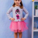Модное платье для девочек с фатиновой юбкой