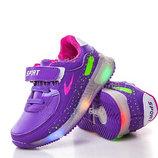 Детские светящиеся кроссовки LED на девочку бренда BBT Размеры 26- 29