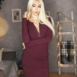 Трикотажное платье Марсалового цвета