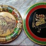 Тарелки тарелочки сувенирные винтажные дерево ручная работа Германия