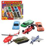 Набор машинок City Racer 92753-10 7 машинок, вертолет, самолет, танк