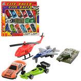 Набор машинок City Racer 92753-15 12 машинок, вертолет, самолет, танк
