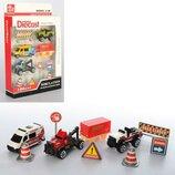 Набор машинок Diacast 80913-5 3 машинки дорожные знаки