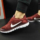 женские кроссовки NIKE Free Run 3.0 бордовые и красные 36-40р