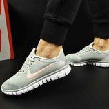 женские кроссовки NIKE Free Run 3.0 серые с розовым 36-40р