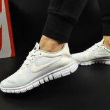 женские кроссовки NIKE Free Run 3.0 белые и розовые 36-40р