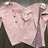 Стильное шерстяное пальто для девочки размер 146-164