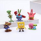 Набор фигурок 6шт Губка Боб, Сквидвард, Пан Крабс, Герри, Сенди, Патрик, игрушки