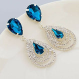 Позолоченные серьги с синими кристаллами код 341