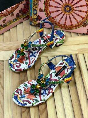 Женские кожаные босоножки Dolce & Gabbana