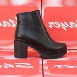 Кожаные черные ботинки ботильоны на устойчивом каблуке натуральная кожа