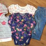 Комплект набор кофта, бодик, футболка и джинсы на 0-3 мес