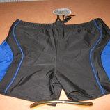 Плавки-Боксеры для купания мужские Sun&Okean на шнуровке р.XL черные с синими вставками