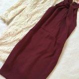 Платье миди с декоративным узлом цвета марсала by very 12 размер