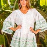 Летнее белое платье , пляжная туника с прошвой и обалденной вышивкой Индиано