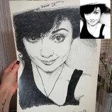 Стильные черно-белые портреты и картины по фото. Карандаш.