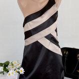 Брендовое черное вечернее нарядное миди платье на одно плечо new look
