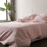 Элитное льняное постельное белье Розовый 1273, лен