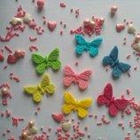 Сахарные бабочки средние для украшения кондитерских изделий, размер на фото. Цвета разные Цена за 3