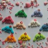 Сахарные зайки вислоухие для украшения кондитерских изделий, размер на фото. Цвета разные Цена за 3ш