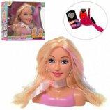 Кукла манекен голова для причесок и макияжа, 17см, расчес,косметика,2цв, в кор, 24,5-22,5-9 см, DEFA