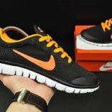 Кроссовки мужские сетка NIKE Free Run 3.0 black/orange