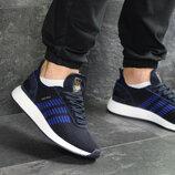 Мужские кроссовки Adidas Iniki,сетка,синие с белым