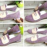 Женские туфли, лоферы цвет фиолетовый на низком каблуке Натуральный замш Цвет,материал на выбор