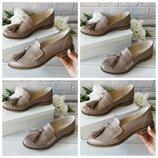 Женские туфли, лоферы цвет бежевый на низком каблуке Натуральная кожа Цвет,материал на выбор