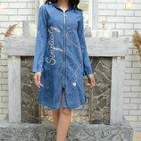 Платье джинс коттон Турция 42-50 размеры 2 вида
