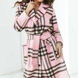 Пальто кашемир клетка розовый
