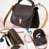 Кожаная сумка цвет шоколад T00002-6