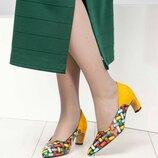 Туфли, натуральная кожа, плетение с желтым