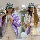 Детская стильная двухсторонняя куртка демисезон 188 Подросток Металлик Двухцвет в расцветках.