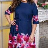 Платье XL софт принт цветы синий цветы синий полоска