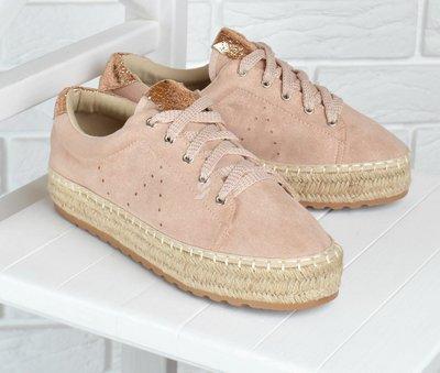 Кеды женские эспадрильи на плетенной платформе Pink sneakers пудра золото