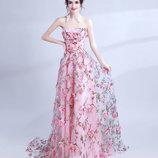 Платье выпускное, праздничное, в цветах