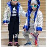 Куртка демисезонная на мальчика на девочку ультра блестящая двухсторонняя куртка девочка мальчик