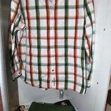 Рубашка JOHN ROCHA крутая стильная клетка зелено белая оранжевая L