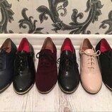 Туфли из натуральной кожи замши на низкой подошве 36 - 41