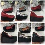 Удобные туфли на платформе с ремешком из натуральной кожи замши 36 - 41