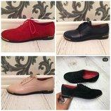 Замшевые кожаные туфли на шнурках модных расцветок 36 - 41