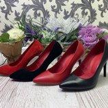 Классические туфли - лодочки из натуральной кожи на каблучке в 2-х цветах 36 - 41