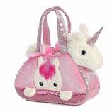 Aurora World Unicorn Плюшевый единорог в розовой сумочке
