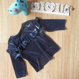Фирменная нарядная велюровая кофта m&s девочке 9-12 месяцев