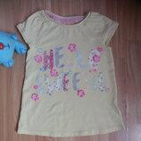 Фирменная футболка f&f малышке 5-6 лет состояние отличное