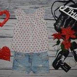 2 - 3 года 98 см H&M фирменная натуральная блузка блуза рубашка для модниц вишенки