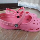 Шлепки резиновие 25,5 см рр 8 розовие оригинал Crocs Крокс море пляж