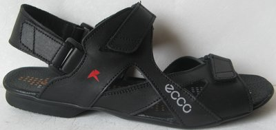 Ecco Black Мужские сандалии на липучках натуральная кожа лето босоножки в стиле Экко сандали